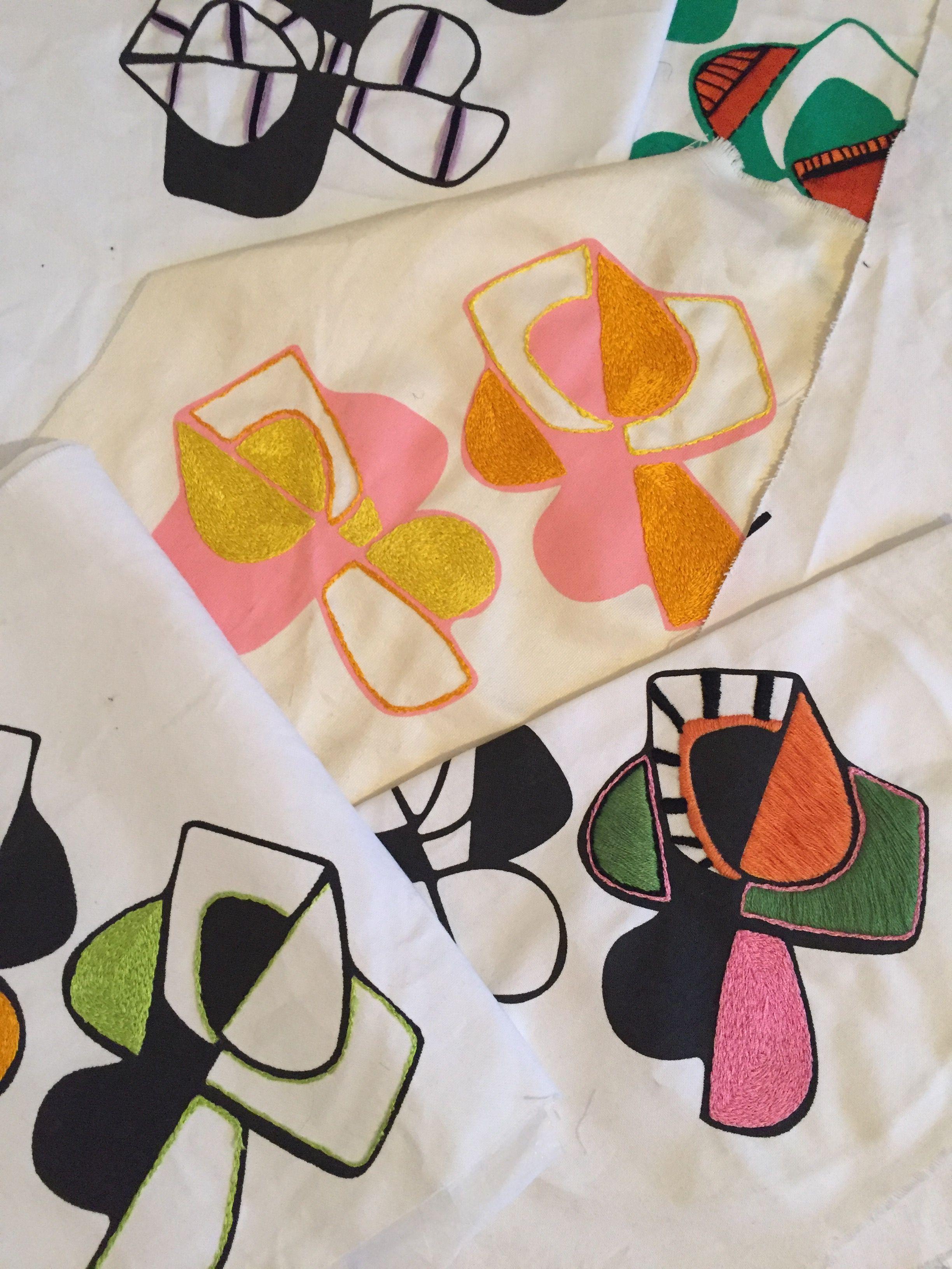 37ff2ce9751c3 Embroidery and screen printed samples by textiles designer Rebeckah Kemi  Apara.