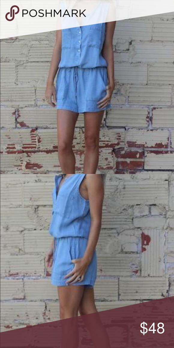 Buttoned Denim Romper Sleeveless 100% Cotton Romper with side pockets and tie waist.. Other