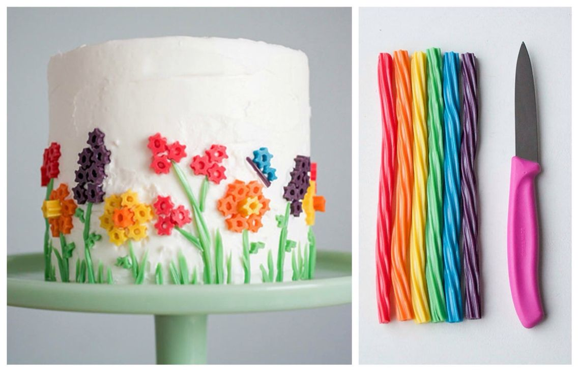 Cake decorated with rainbow twizzlers Cakes and Cupcakes