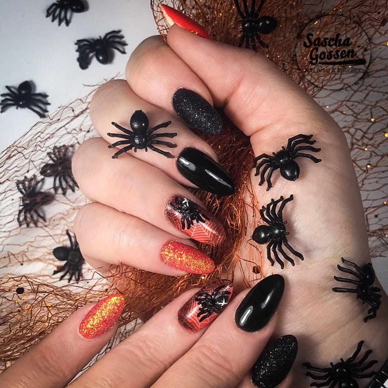 Halloween nails with little spiders. I used Korneliya ...