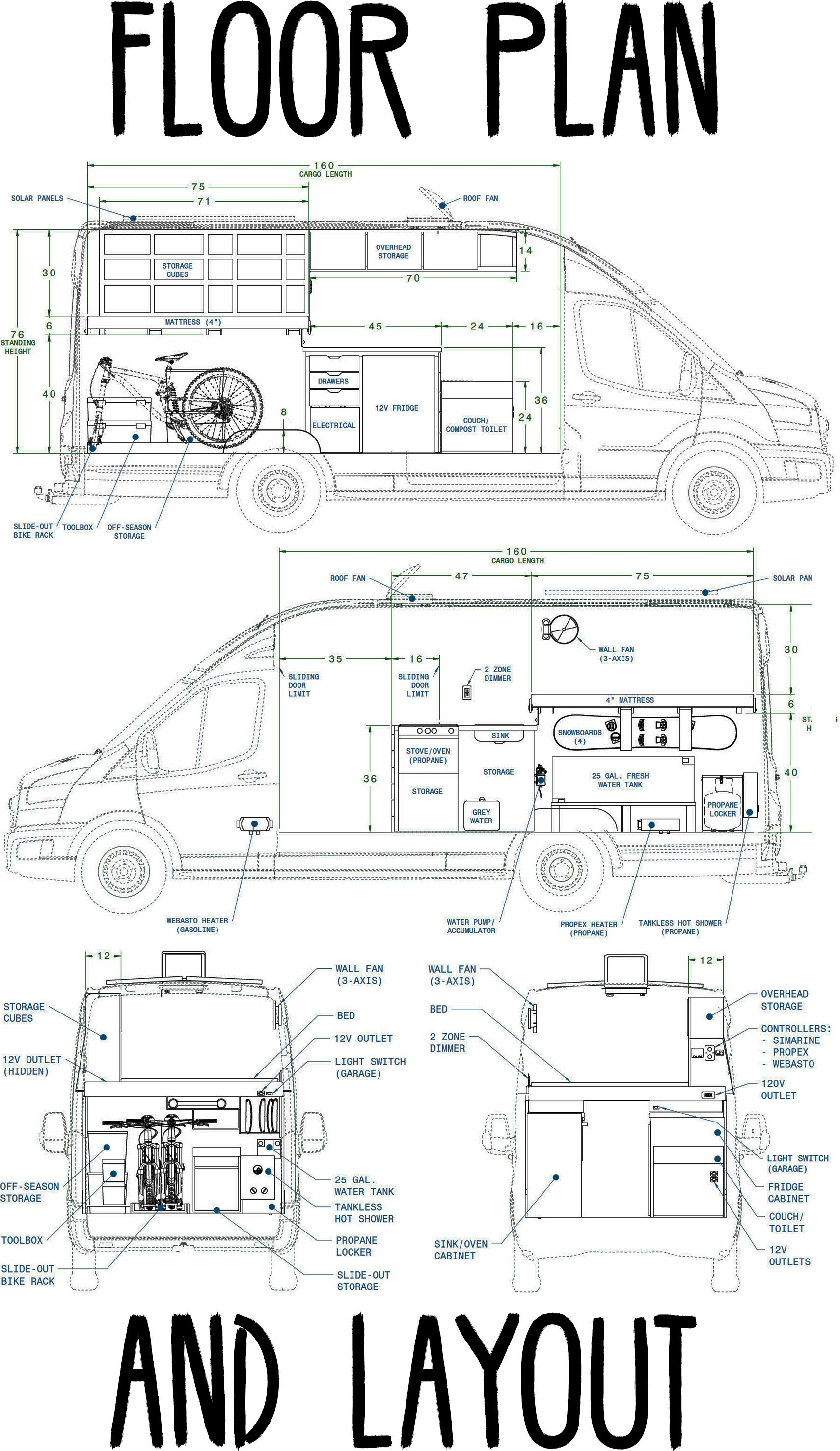 Camper Van Floor Plan Interior Layout Van Conversion Floor