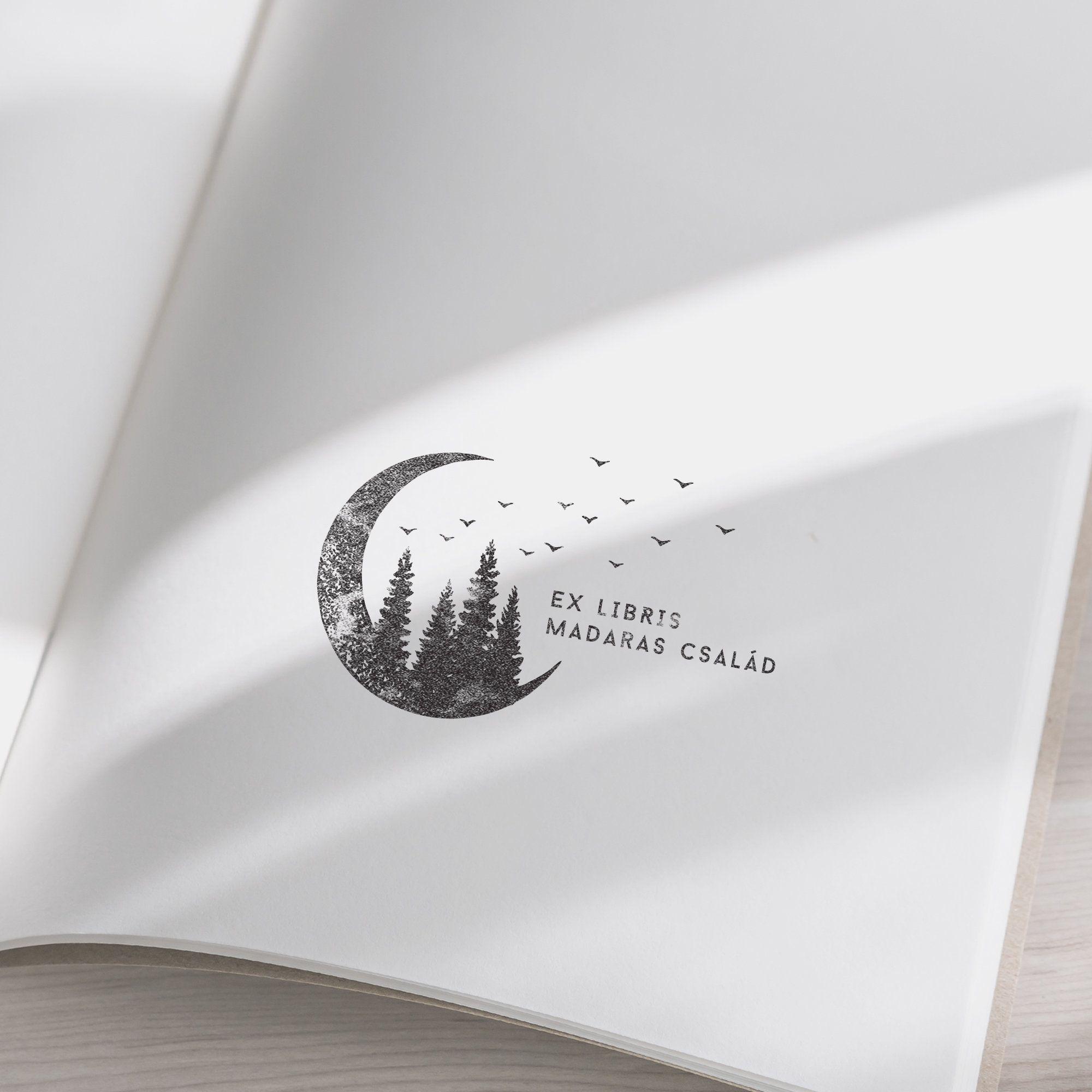 1153081019-- Bird Bookplate Stamp Bird Custom Ex Libris Bookplate Personalizable Gift Idea Book Stamp Book Lovers Gift Sellos Stempel
