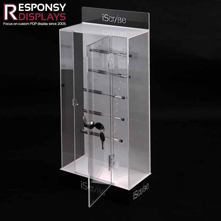 Counter Clear Acrylic Pen Display Cabinet With Lock