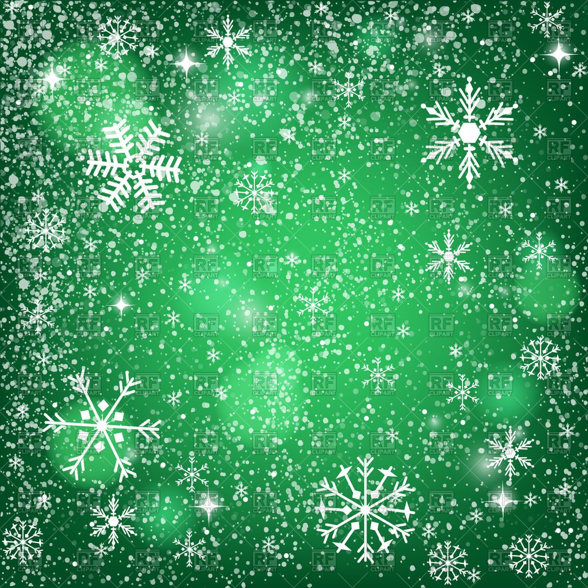 Vector image of Abstract green Christmas background snowy