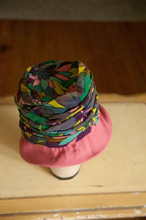 Items similar to Vintage Hat- 60s Mod Floral Velvet Pink Rim on Etsy #pinkrims
