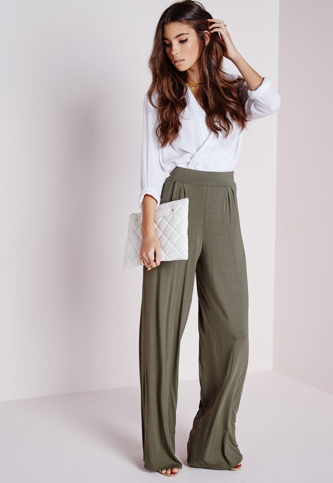10fa7b33f4b1 Missguided - Jersey Wide Leg Pants Khaki Wide Pants Outfit, Olive Green  Pants Outfit,