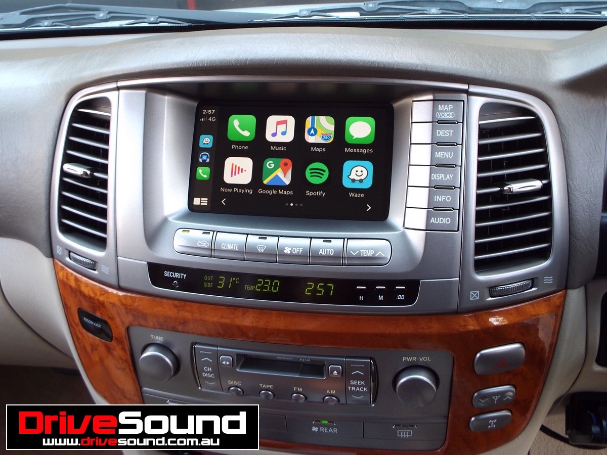 Lexus LX470 with Apple CarPlay installed by DriveSound. in
