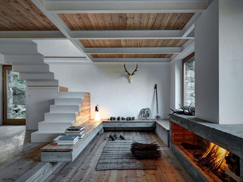 Een bijzondere trap vormt de eye catcher in deze stijlvolle cabin