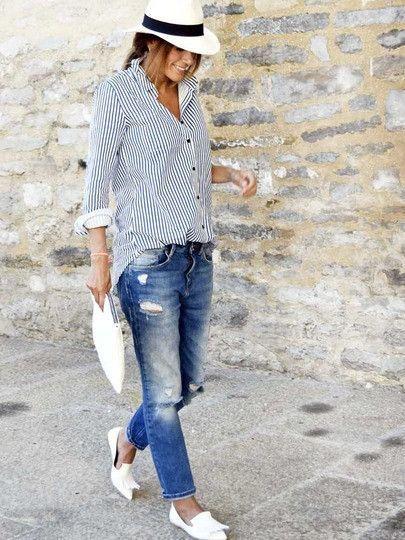 Button Up Blaue und weiße gestreifte Bluse #decorationequipment