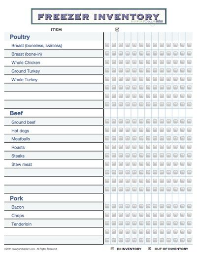 Blank Inventory Sheets Freezer Inventory Printable Takes 4
