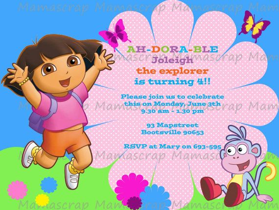 Dora Birthday Invitation Card By Mamascrap On Etsy 300 Jen