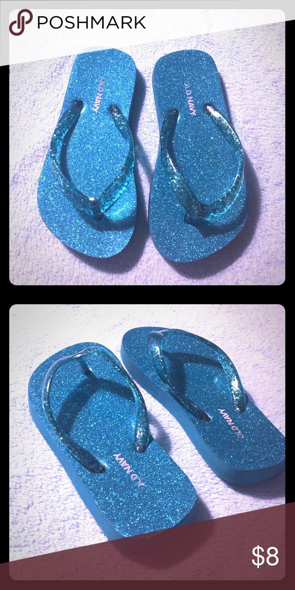 cbf9d822b9a50e Teal Glittery Flip Flops