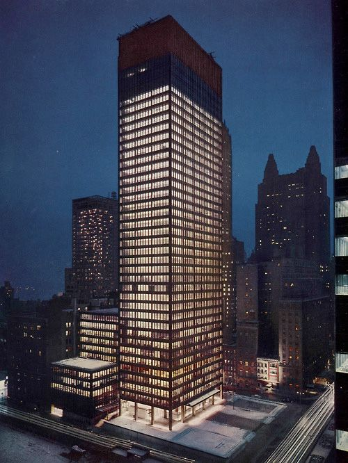 D Front Elevation Of Building : Seagram building ludwig mies van der rohe with philip