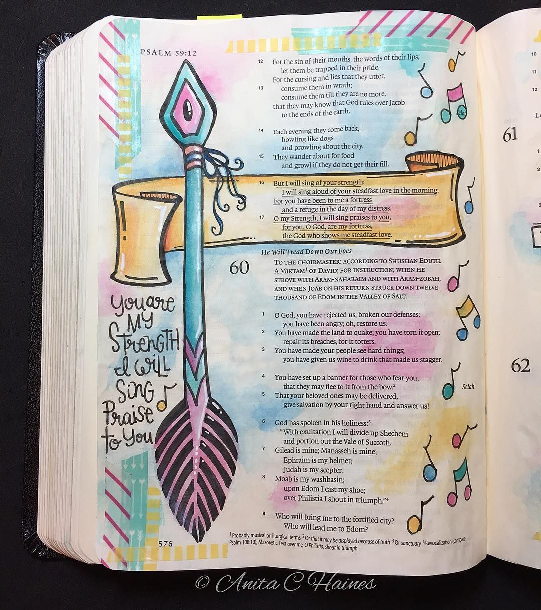 Psalm 59 16 17 But I Will Sing Of Your Strength Yes I: Pin On Bible Journaling