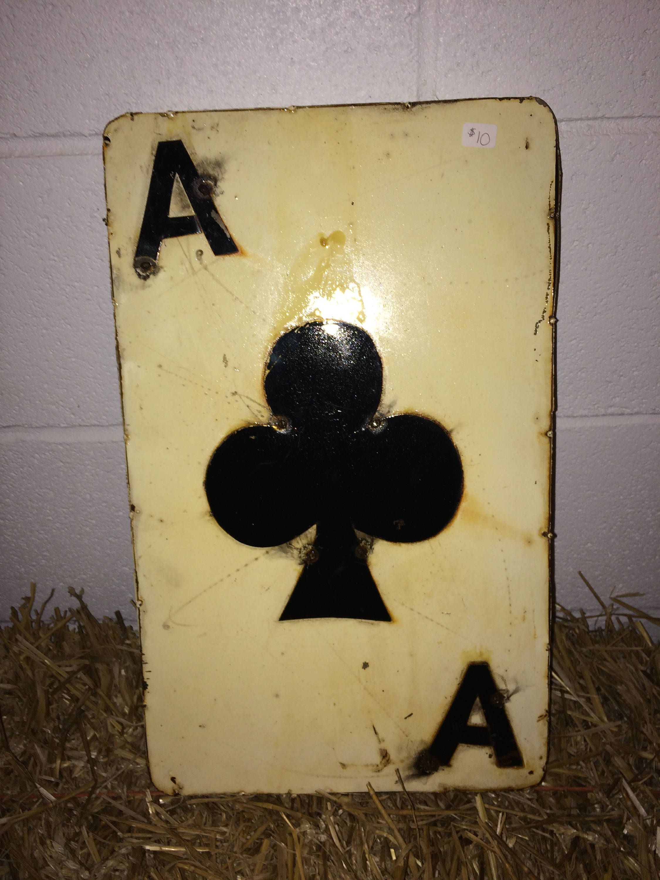 "Recycled Metal Card - 12"" Ace of Club- Wall Decor Sign - 12"" H ..."