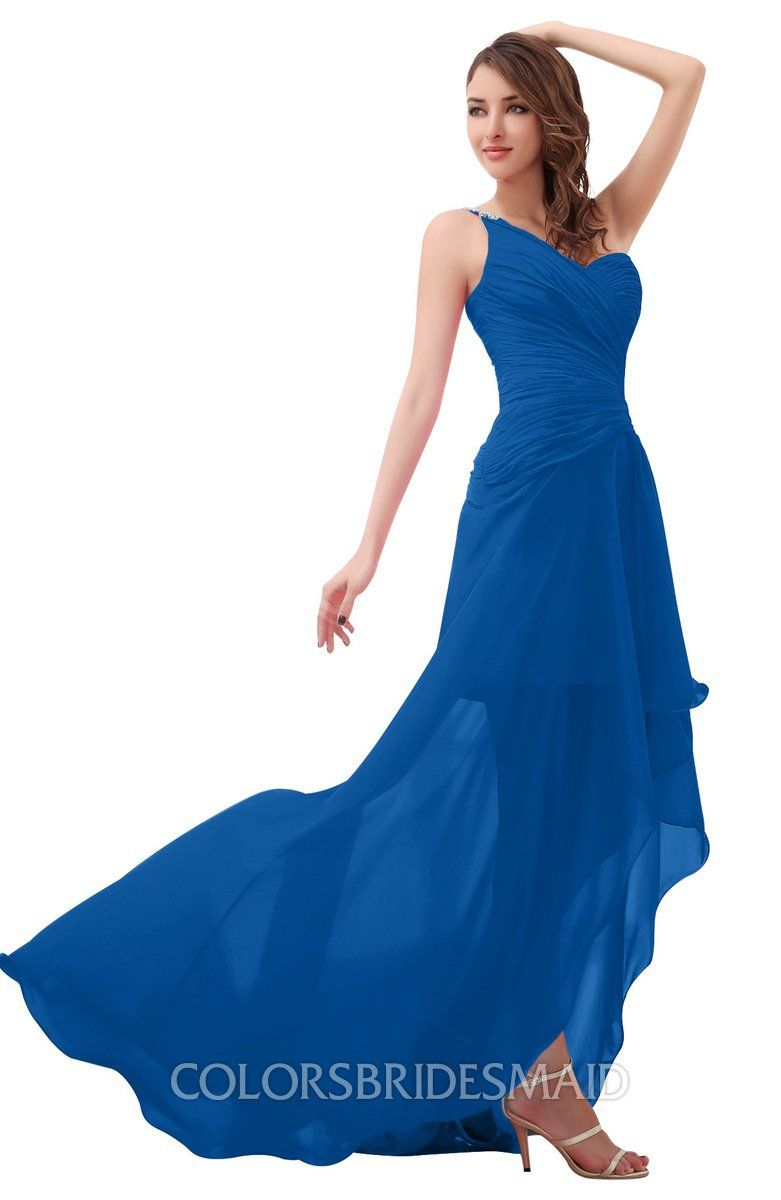 2bb4b874d853 Royal Blue Romantic One Shoulder Sleeveless Brush Train Ruching Bridesmaid  Dresses at colorsbridesmaid.com is on discount. The A-line, Brush Train, ...