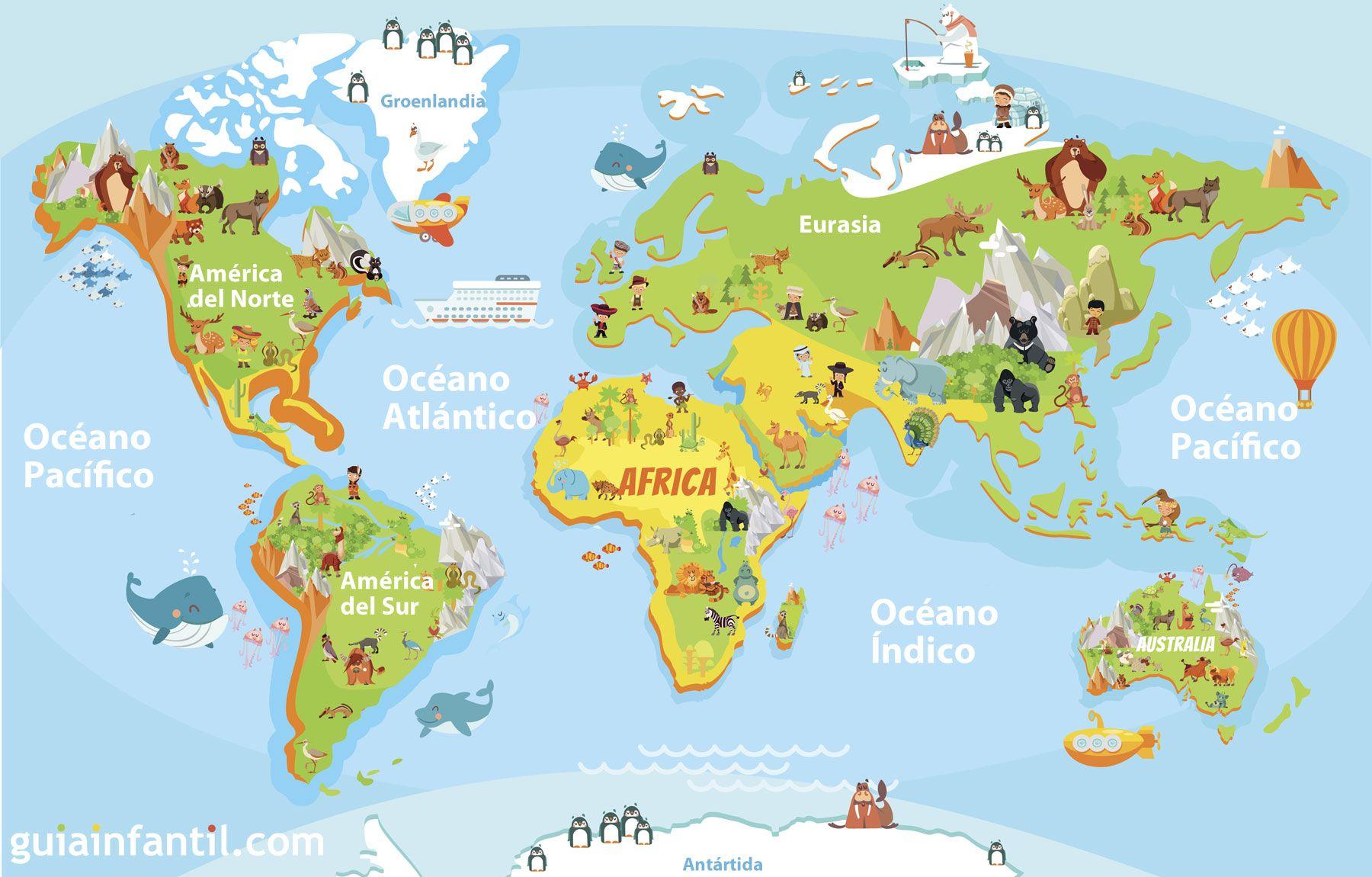 Distintos Mapamundis Para Niños De Primaria Mapas Para Niños Mapamundi Para Imprimir Geografía Para Niños