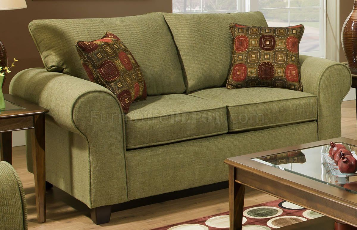 Olive Green Sofa Accent Pillows Olive Fabric Modern Casual Sofa