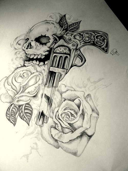 dd1fccc124434 gun tattoo | Skull Gun n Roses Tattoo Design | Sick sleeve ideas ...