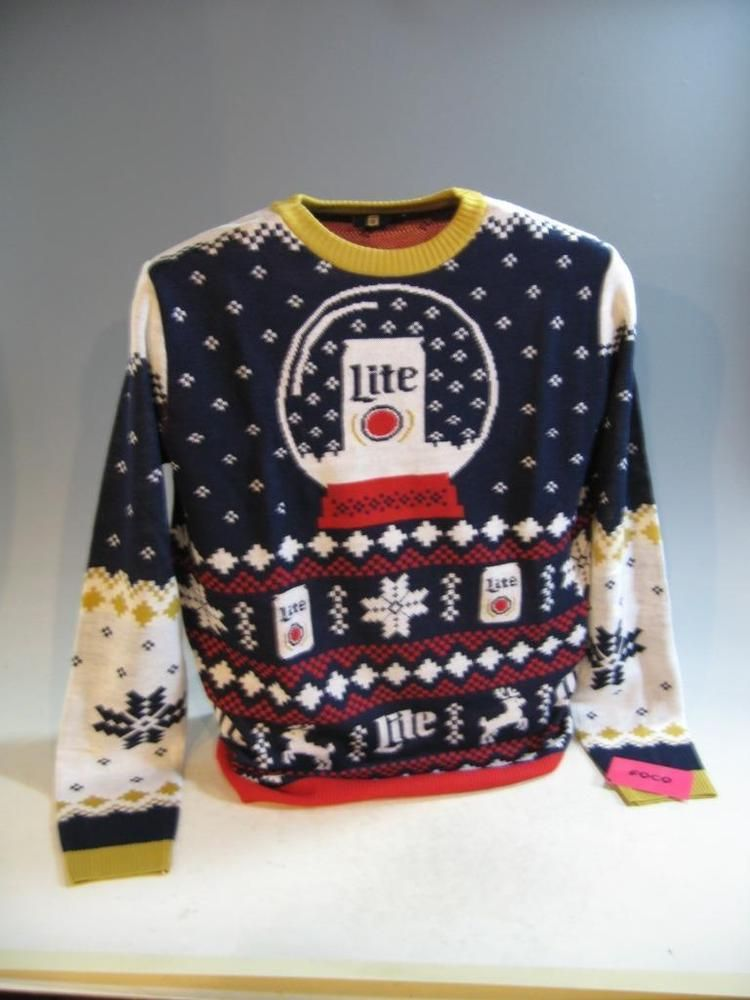 fc5f4f1a4 Miller Lite Beer 2018 Christmas Winter Holiday Sweater Men s Size ...