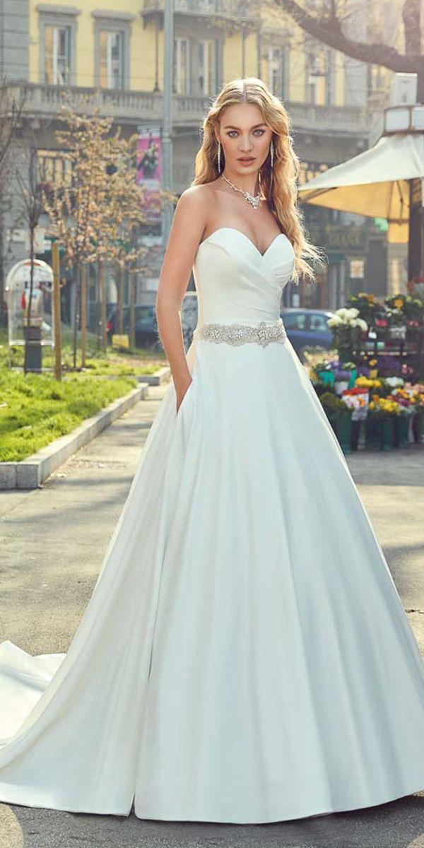 Delicate Satin Sweetheart Neckline A-line Wedding Dress With Belt ...
