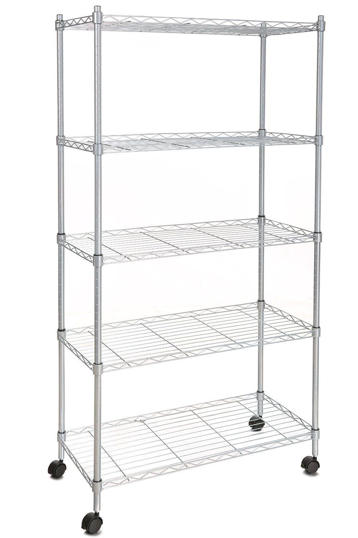 Amazon.com: Homdox 5-Shelf Wire Shelving Unit on Wheels 29 x 14 x ...