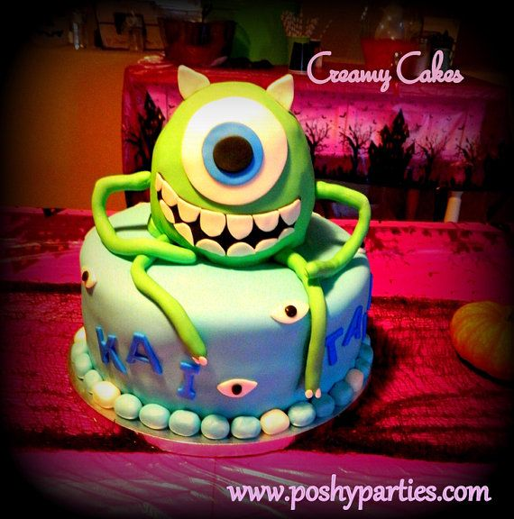 """Mike Wazowski Cake Topper 6""""-Monster's inc Party- Monsters inc birthday-Monsters University-Mike Wazowski on Etsy, $35.00"""