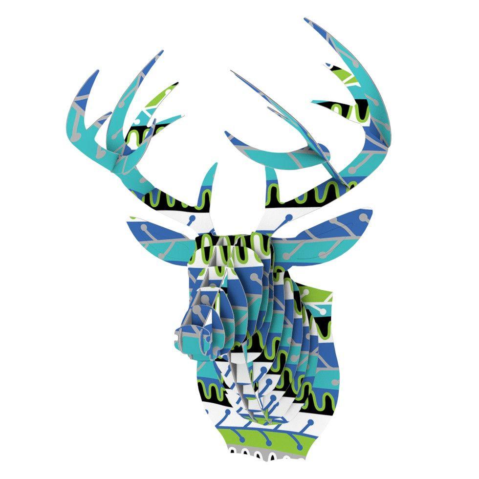 """Jacqueline Milton """"Salsa - Blue"""" Aqua Green Bucky Deer Bust Jr."""
