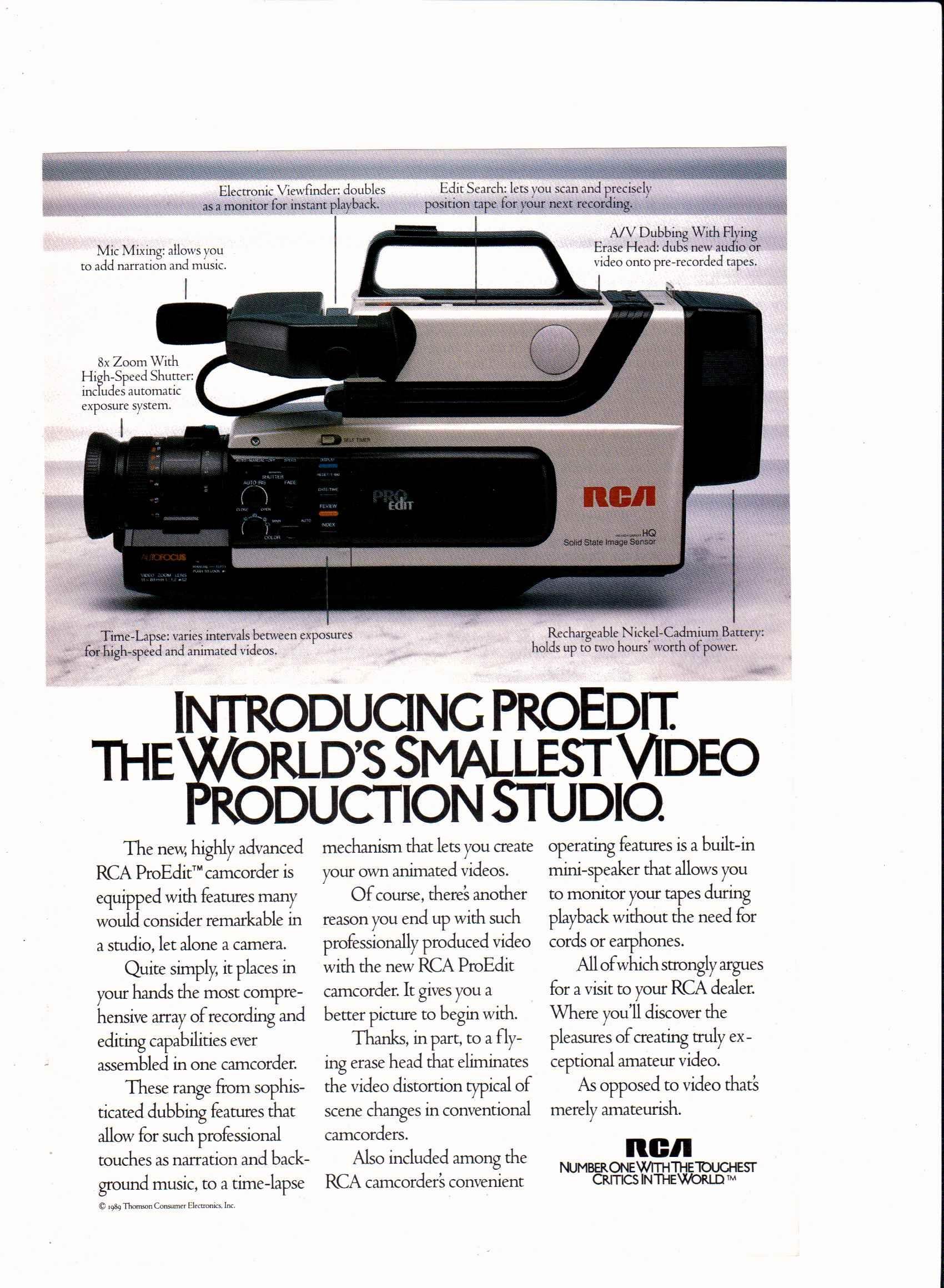 1989 Rca Proedit Camcorder Ad National Geographic December 1989 Ads Vintage Ads Television Network