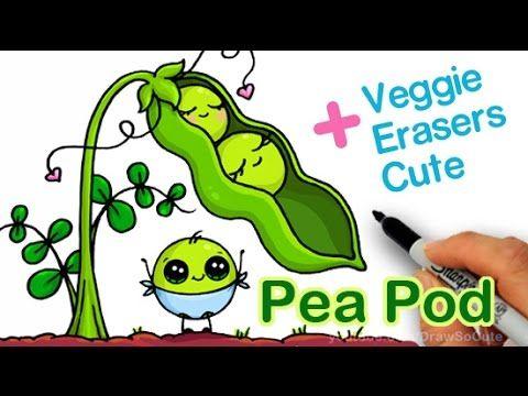 How To Draw Cute Peas In A Pod Step By Step Cartoon Vegetables Cute Drawings Cute Food Drawings Cute Kawaii Drawings