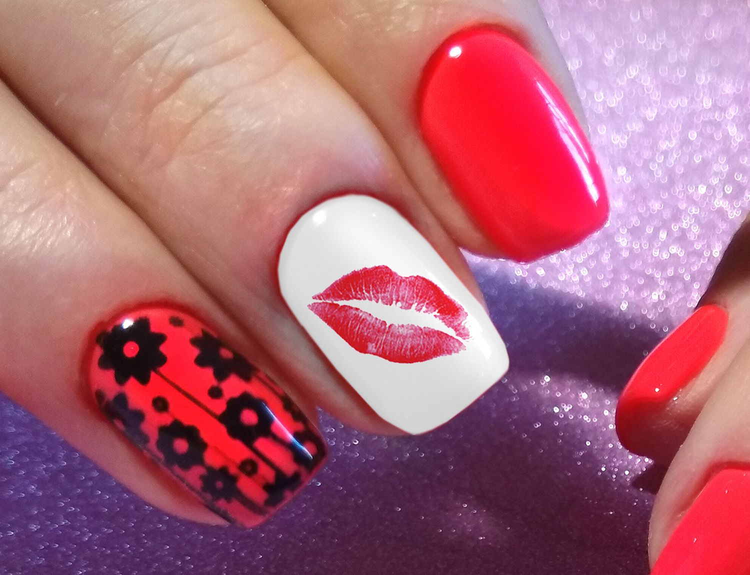 Lips Kiss Nail Art Decals | Nail decals, Kiss nails and Manicure