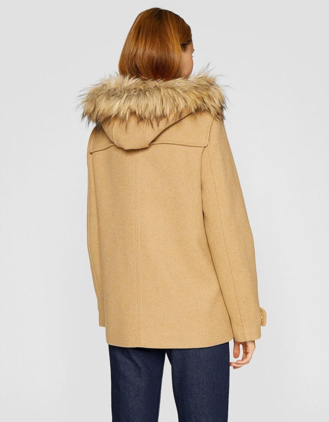 Cazadora de paño con capucha lana - Abrigos de mujer  2de32a6dc12e