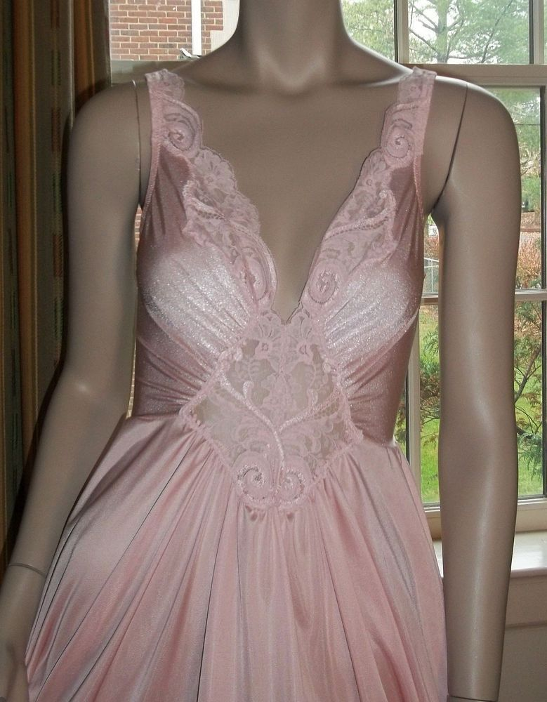 Olga Large Perky Spandex 92270 Nightgown Pink Lace Grand Hem Sweep ...