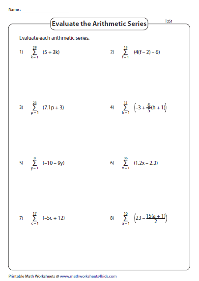 Arithmetic Series Evaluate Type 2 Summation Notations Sigma