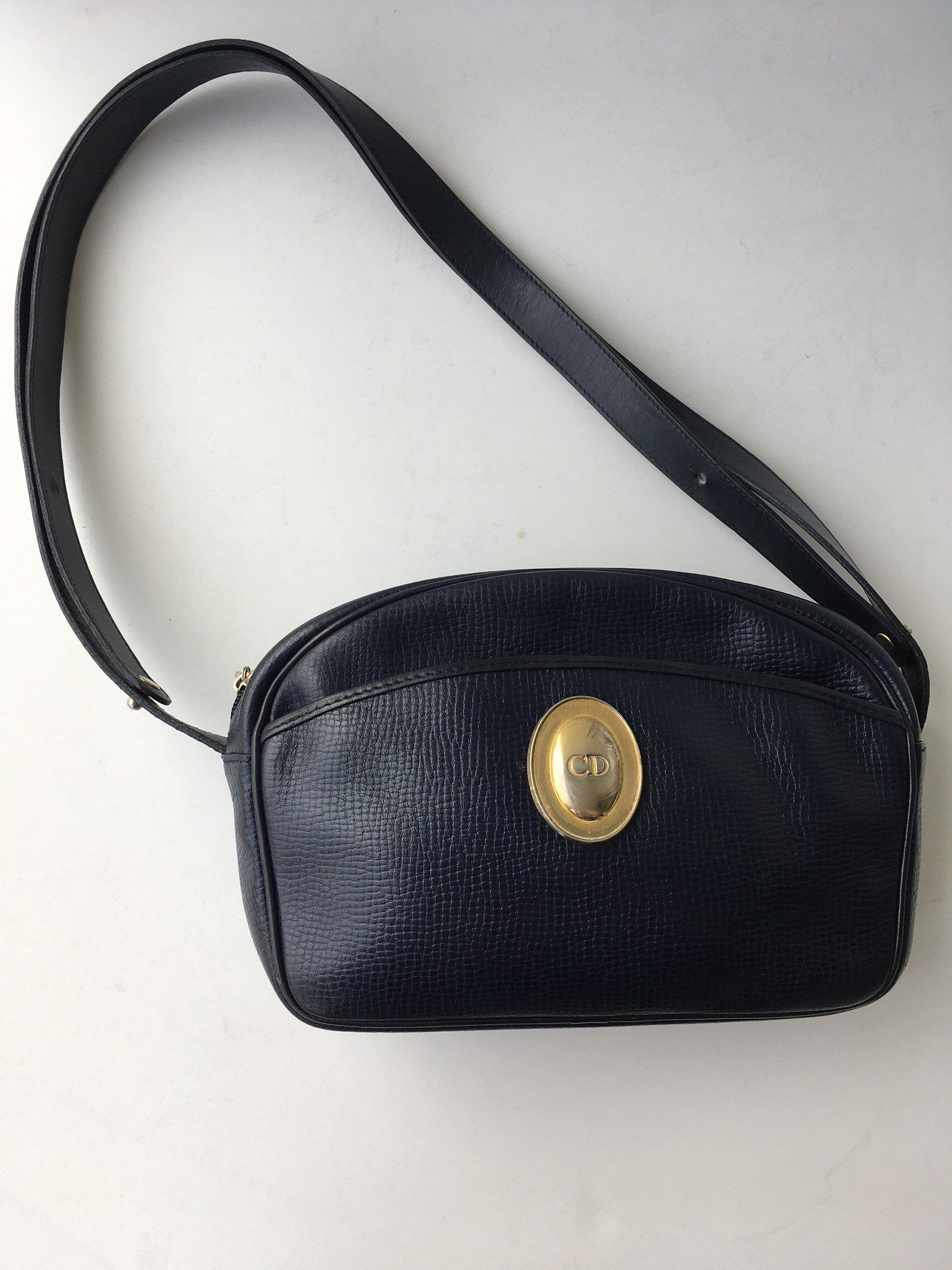 Excited to share this item from my  etsy shop  Authentic Christian Dior  Shoulder Bag Vintage Ghw Good Blue Leather Cross Body Bag d48cb46403