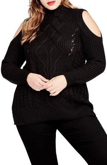 d1023c4836c55 Rachel Roy Plus Size Women s Cold Shoulder Cable Sweater