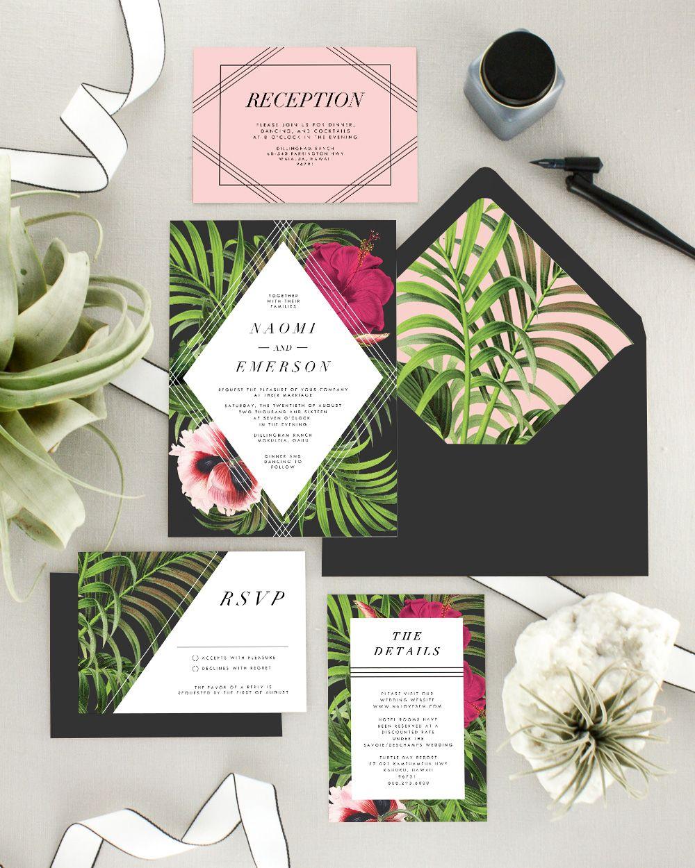 Hawaii Wedding Invitation Set Tropical Wedding Invitations Printed