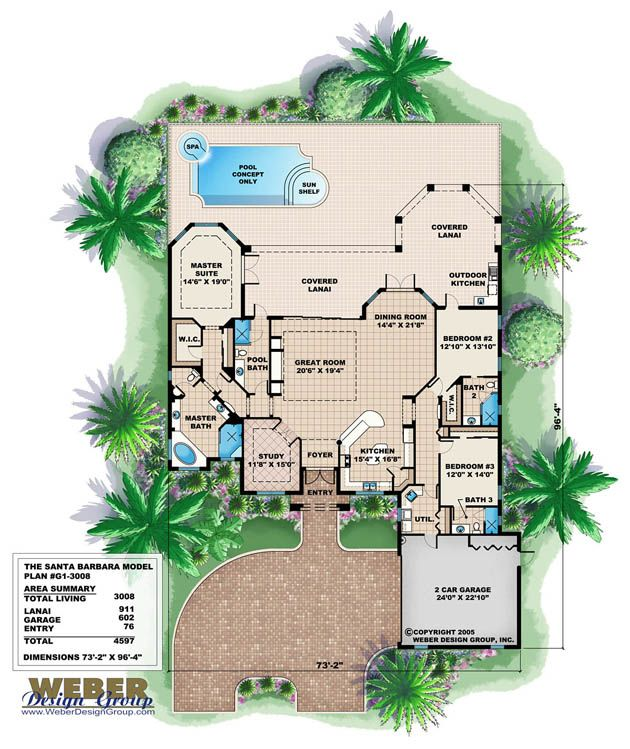 Mediterranean Mansion Floor Plans Design 77447630607: Santa Barbara Home Plan
