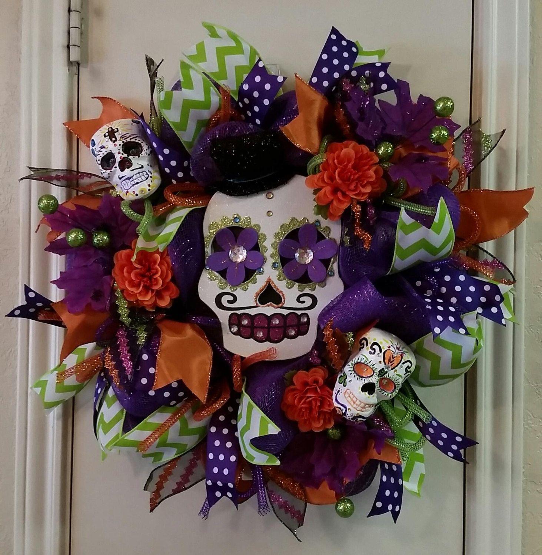 Day of the Dead Wreath, Skull Face Halloween Wreath, Sugar