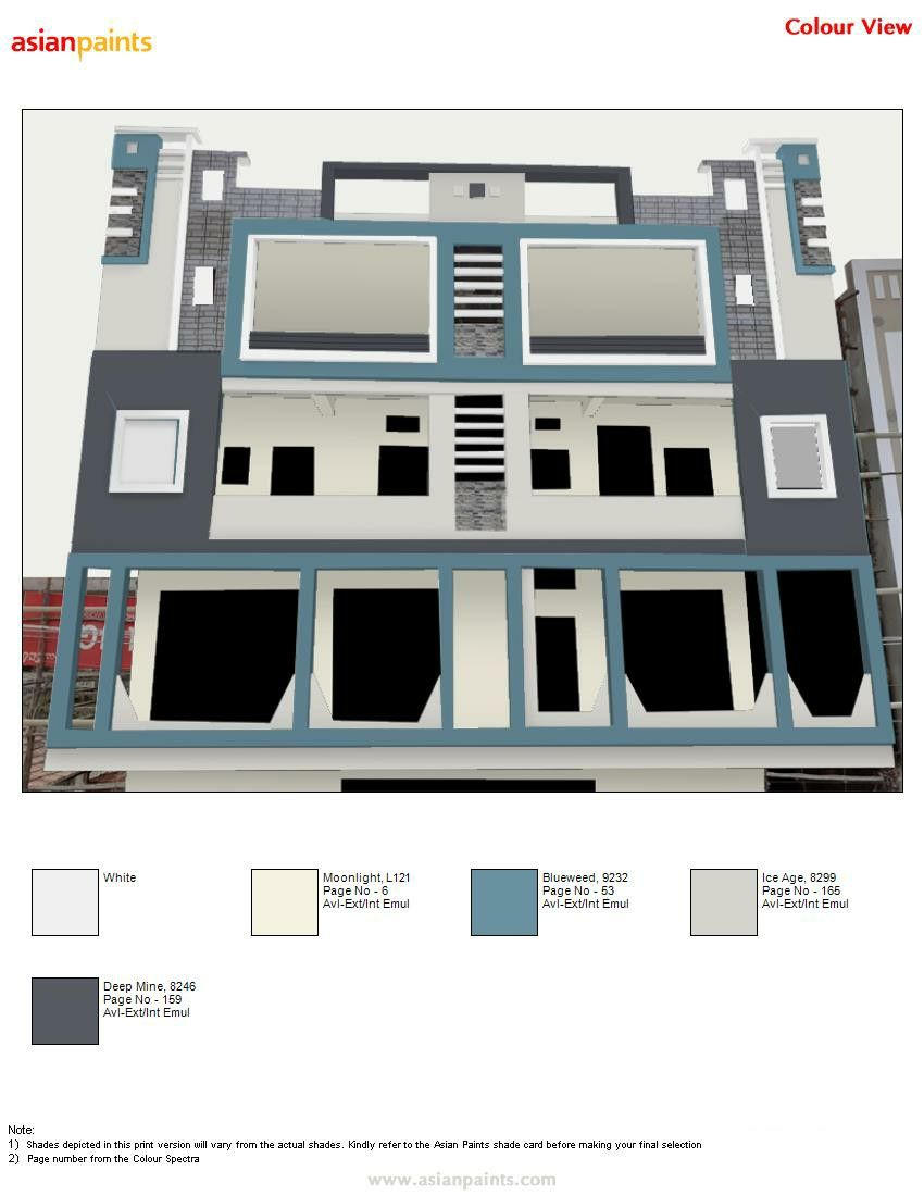 Pin By Raghavendra Raghu On Top 200 Asian Paints Color Views Exterior Color Combinations House Designs Exterior House Paint Exterior