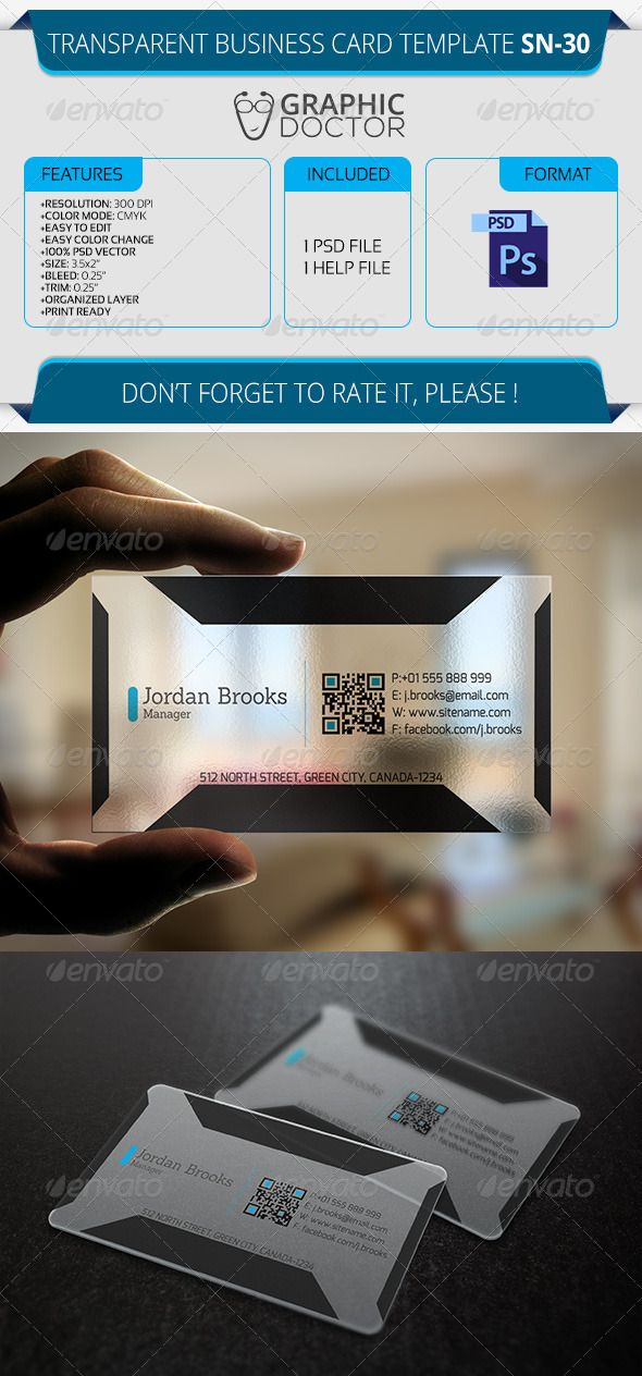 Transparent Business Card Template Sn 30 Transparent Business