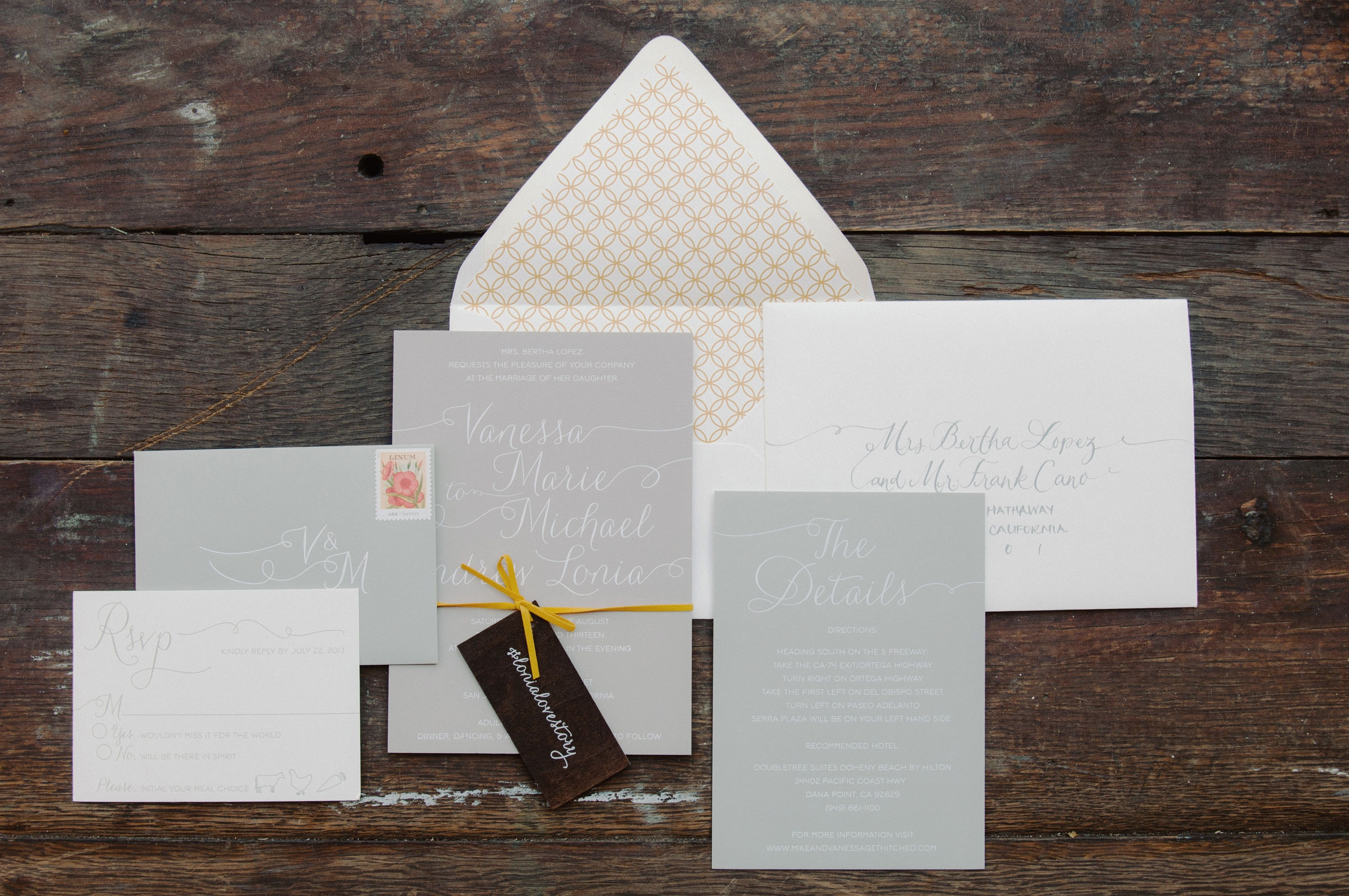 Whimsical gray and white invitation suite pitbulls and posies llc