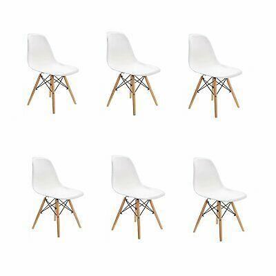 4er Stühle mit Holzbeinen Wohnzimmer Stuhl Nordic PP Kunststoff Esszimmerstühle