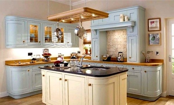 Light Grey & cream hand-painted rounded in frame kitchen showing ...
