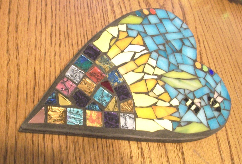 8x5.5 inch Sunflower Mosaic Heart Wall Art Plaque,Bumble Bees ...