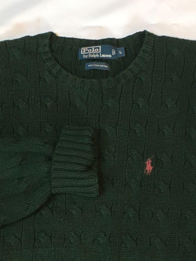 e5b45d818 Mens Ralph Lauren Polo Cotton Cable Crewneck Sweater Large Green ...