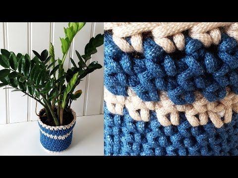 Macrame Crochet Planter Cover Free Crochet Pattern - Right Handed ...