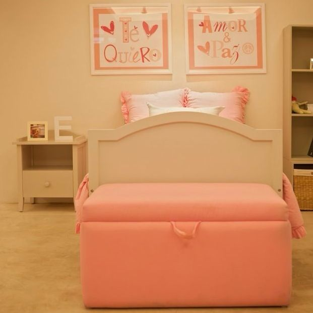 Linda cama individual con piecera y buró de repisa con cajón, línea ...