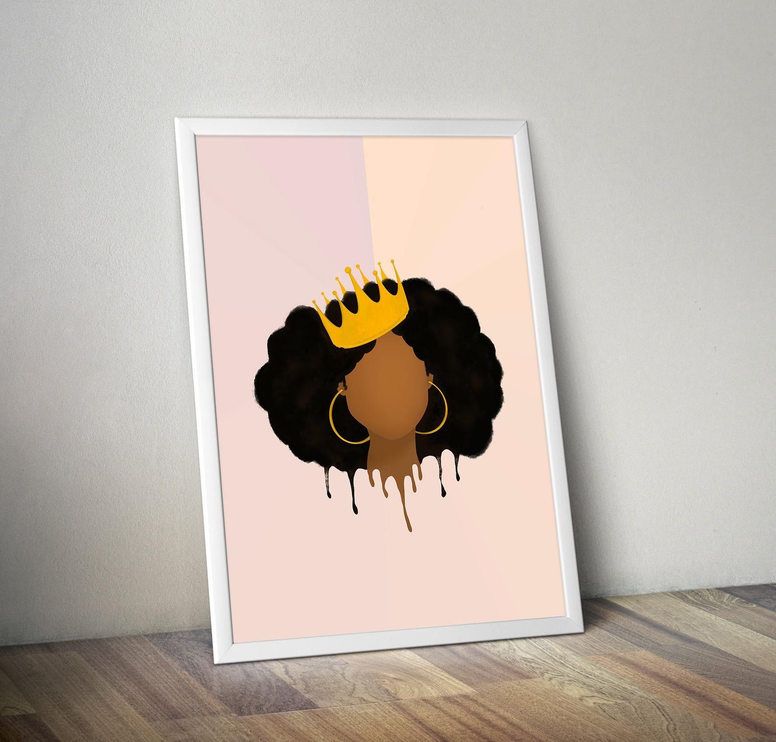 Black Queen Printable Art Afro Art African American Art Printable Wall Art African American Illustration Queen Art In 2020 African American Art Queen Art American Art