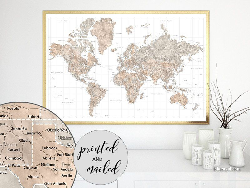 Highly detailed watercolor world map print world map with cities in